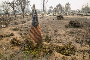Sonoma Fire Aftermath American Flag