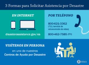 3 formas para solicitar asistencia por desastre